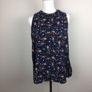Elodie by Anthropologie blue floral blouse